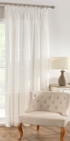 Linen Stripe Panel - Natural - Sheer Ideas