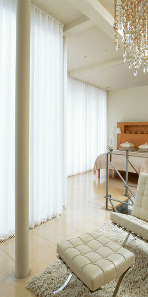 Infinium Linen Look Semi -Sheer Voile Panel with WAVE Heading - Pure WHITE - Sheer Ideas