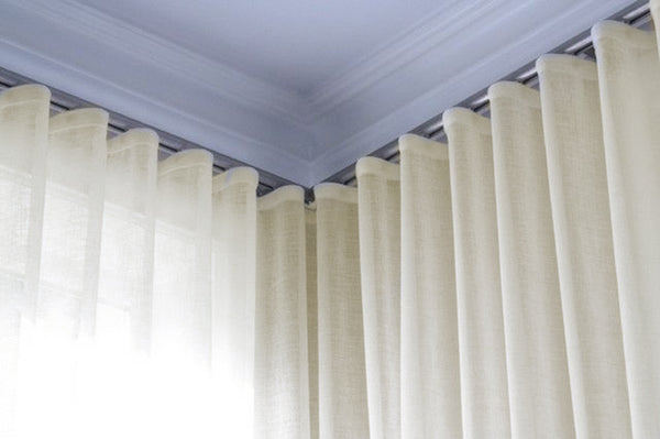 Infinium Linen Look Semi -Sheer Voile Panel with WAVE Heading - Pale CREAM - Sheer Ideas