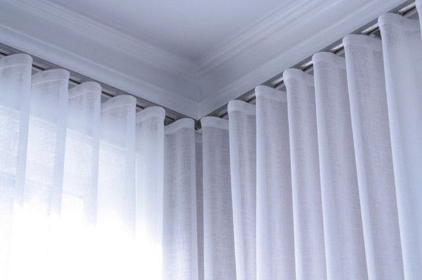 Infinium Misted Semi -Sheer Voile Panel with WAVE Heading - Pure WHITE - Sheer Ideas
