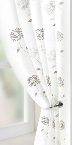 Dianthus Flower Voile Panel - Cream - Sheer Ideas