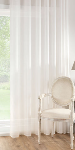Extra Wide Cotton Rich Voile Panel  - Very Pale Cream - Sheer Ideas