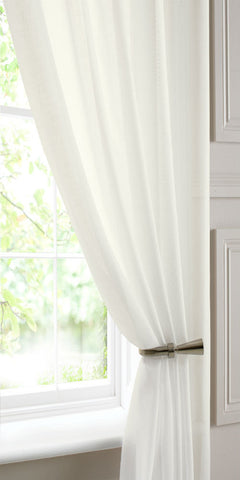 Linen Look  Voile Panel - Cream - Sheer Ideas