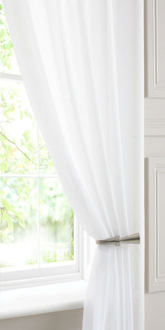 Extra Wide Linen Look  Voile Panel - White - Sheer Ideas