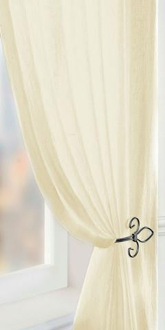 Crushed Voile Panel - Pale CREAM - Sheer Ideas
