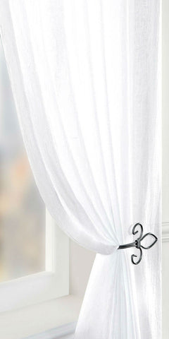 Crushed Voile Panel - White - Sheer Ideas
