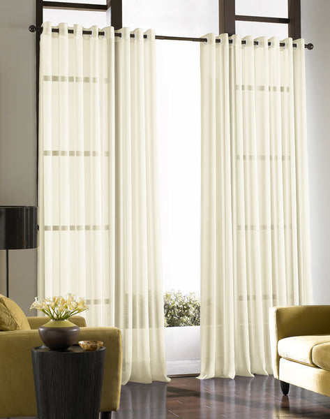 Infinium Sheer Voile Panel with EYELET Heading - Pale CREAM - Sheer Ideas