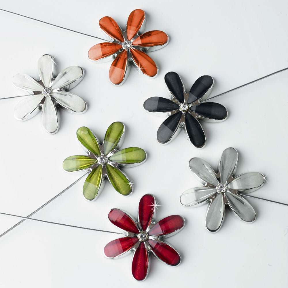 Pair Magnetic Hold Backs - Flower - Sheer Ideas