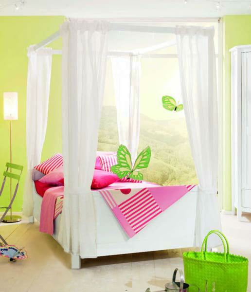 Kids Girls BED CANOPY Curtains FOURPOSTER Drape Set Pure WHITE Sheer Voile - 8 Panel Set - Sheer Ideas
