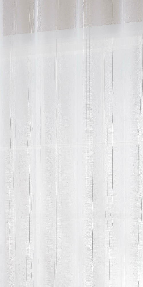 Extra Wide Sheer STRIPE Voile Fabric 300cm width  - Pure WHITE - FRI101W - Sheer Ideas