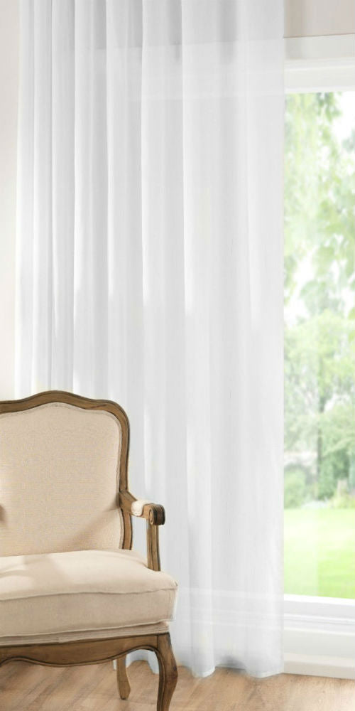 Batiste Semi Sheer Voile Panel - White - Sheer Ideas