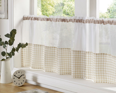 Gingham Check Cafe Panel - Natural / Beige - Sheer Ideas
