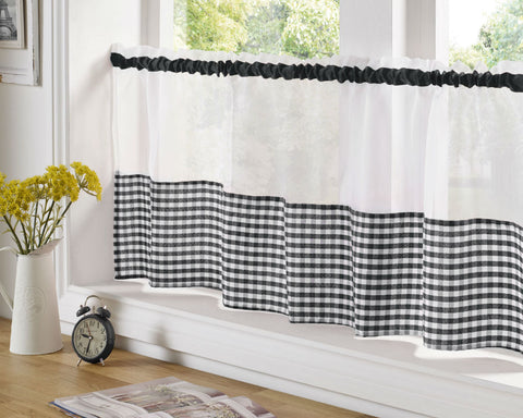 Gingham Check Cafe Panel - Black - Sheer Ideas