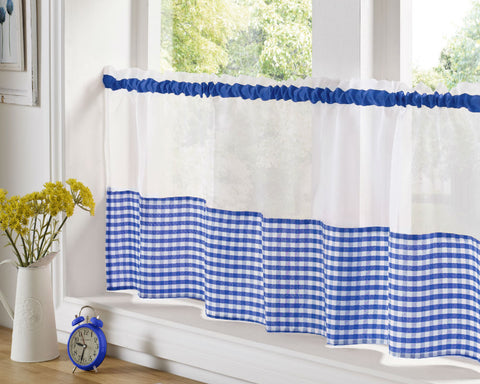 Gingham Check Cafe Panel - Blue - Sheer Ideas