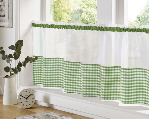 Gingham Check Cafe Panel - Summer Green - Sheer Ideas