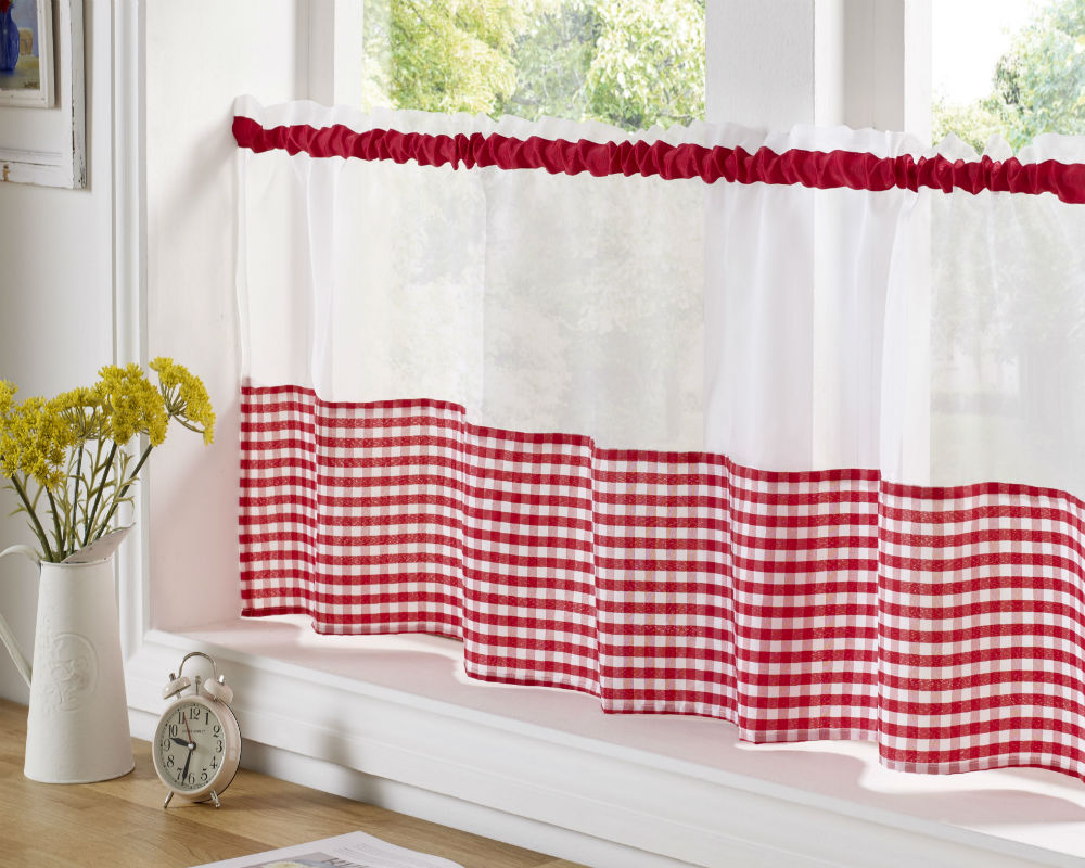 Gingham Check Cafe Panel - Red - Sheer Ideas