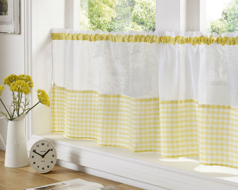 Gingham Check Cafe Panel - Sunshine Yellow - Sheer Ideas