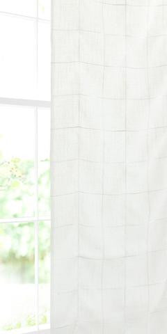 Large Check Voile Panel - Natural - Sheer Ideas