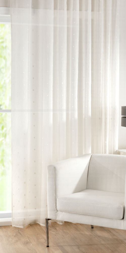 Extra Wide Rectangles Motif Voile Panel - Pale Cream - Sheer Ideas