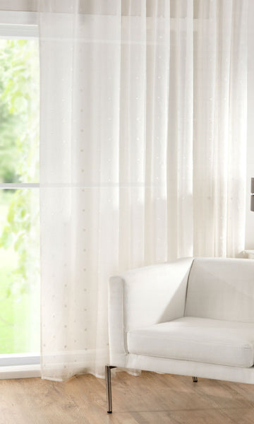 CUSTOM Made RECTANGLES Sheer Voile Panel  - Pale Cream - Sheer Ideas