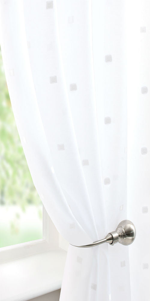 Rectangles Voile Panel - Pale Cream - Sheer Ideas
