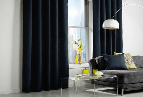 Custom Made LINEN LOOK Curtains - Dark Navy - Sheer Ideas