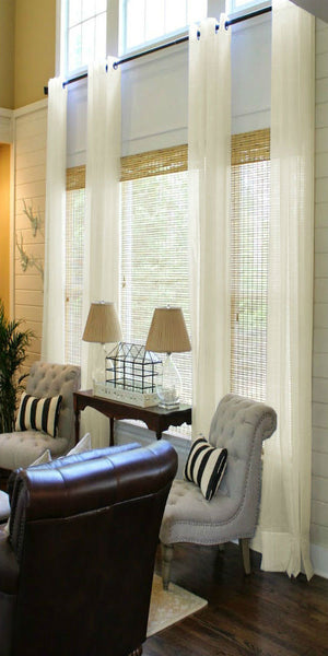 Infinium Linen Look Semi Sheer  Voile Panel with EYELET Heading - Pale CREAM - Sheer Ideas
