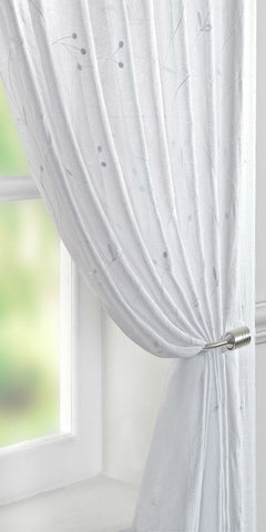 Berry Motif Voile Panel - White - Sheer Ideas