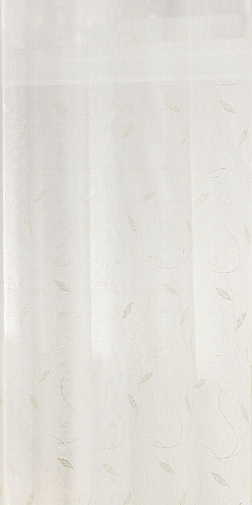 Extra Wide CREWELL LEAF Voile Fabric 300cm width  - Pale Cream - LEA101C - Sheer Ideas