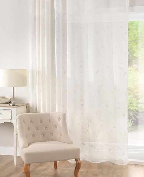 CUSTOM Made Crewell Embroidered Leaf Panel  - Pale Cream - Sheer Ideas