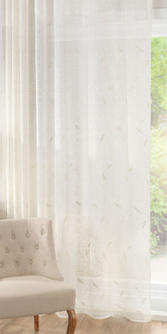 Extra Wide Crewell Embroidered Leaf Panel - Cream - Sheer Ideas