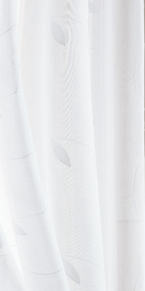 Extra Wide CREWELL LEAF Voile Fabric 300cm width  - Soft White - LEA101W - Sheer Ideas
