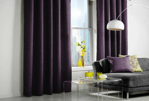 Custom Made LINEN LOOK Curtains - Purple - Sheer Ideas