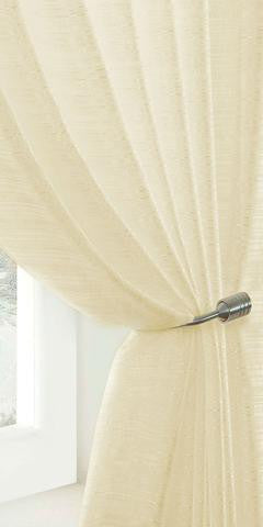 Extra Wide Lustre Semi Sheer Voile Panel - Pale Cream - Sheer Ideas