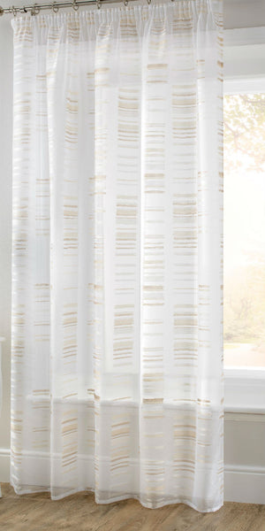 Extra Wide Natural Beige White Sheer Voile Panel - Sheer Ideas