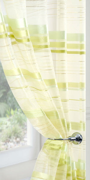 Banded Organza Voile Panel  - Lime Green - Sheer Ideas