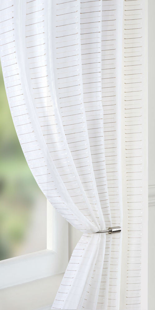 Linear Motif Voile Panel  - Natural - Sheer Ideas