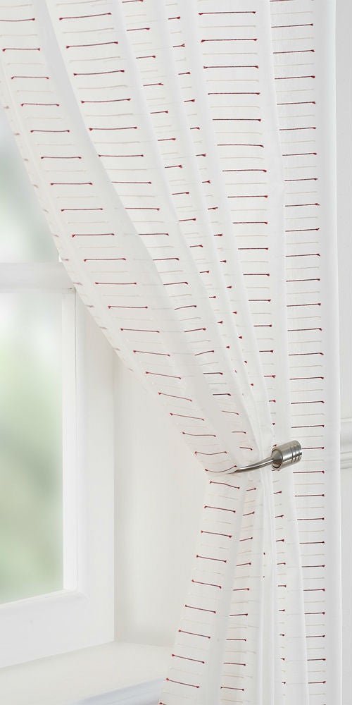 Linear Motif Voile Panel  - Red - Sheer Ideas