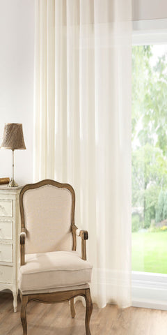 Semi Sheer Misted Voile Panel - Pale Cream - Sheer Ideas