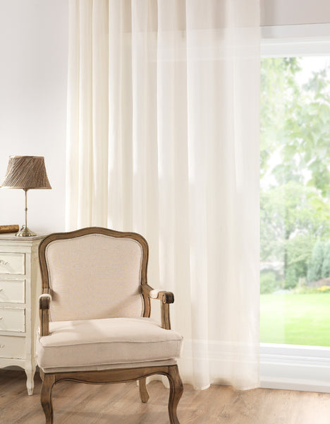 Infinium Misted Semi Sheer  Voile Panel with EYELET Heading - Pale CREAM - Sheer Ideas