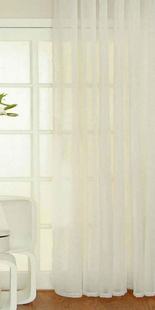 Extra Wide Semi Sheer Misted Voile Panel - White - Sheer Ideas