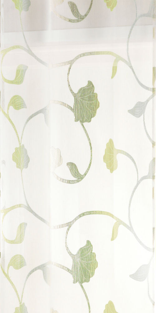 Extra Wide FLORAL TRAIL Voile Fabric 300cm Width - Green - OR101G - Sheer Ideas