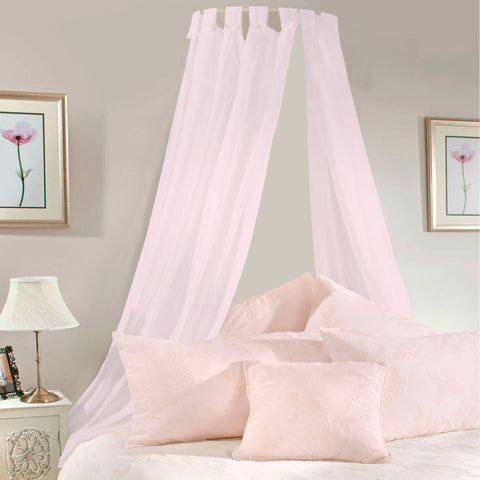 Pale Pink Voile Bed Canopy Complete Set - Sheer Ideas