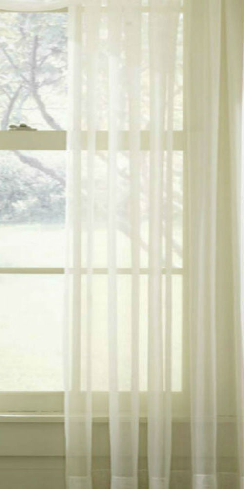Extra Wide Plain Sheer Voile Panel - Pale Cream - Sheer Ideas