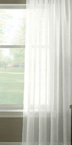 Extra Wide Plain Sheer Voile Panel - White - Sheer Ideas