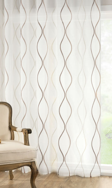 CUSTOM Made CONTEMPO Organza  Panel  - Walnut - Sheer Ideas
