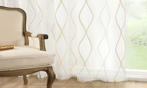 CUSTOM Made CONTEMPO Organza  Panel  - Champagne - Sheer Ideas