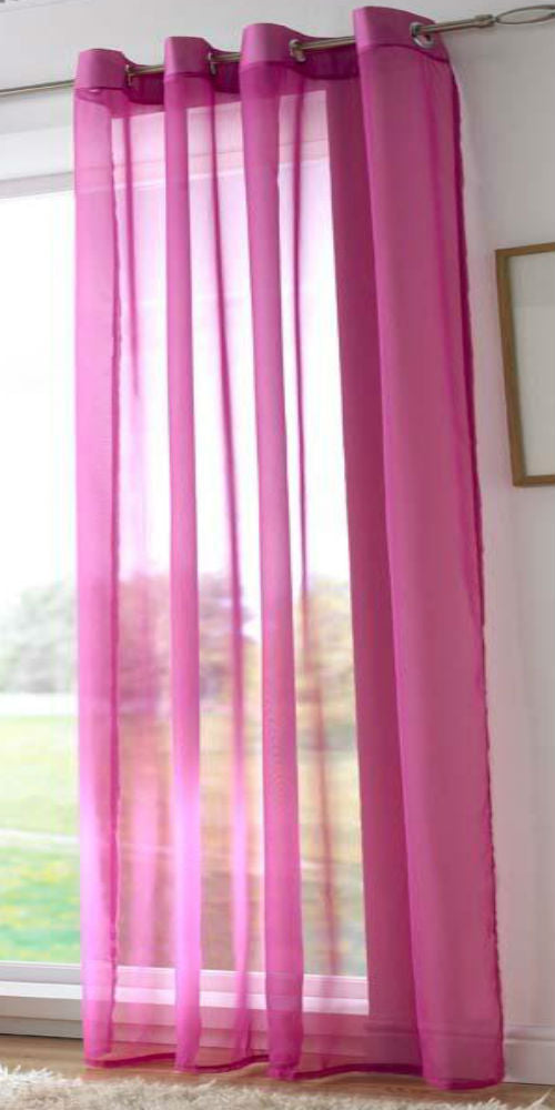 EYELET Ring Top Plain Voile Panel - CERISE PINK - Sheer Ideas