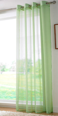 EYELET Ring Top Plain Voile Panel - LIME GREEN - Sheer Ideas