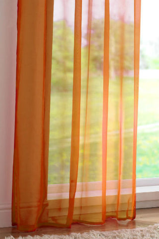 Channel / Rod Pocket Top Voile Panel - Orange - Sheer Ideas